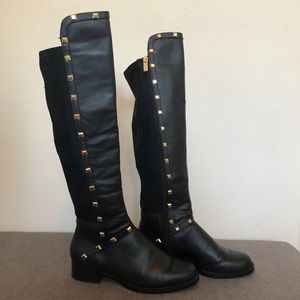 Shoes - Black Vegan Leather Studded Knee-High Boots